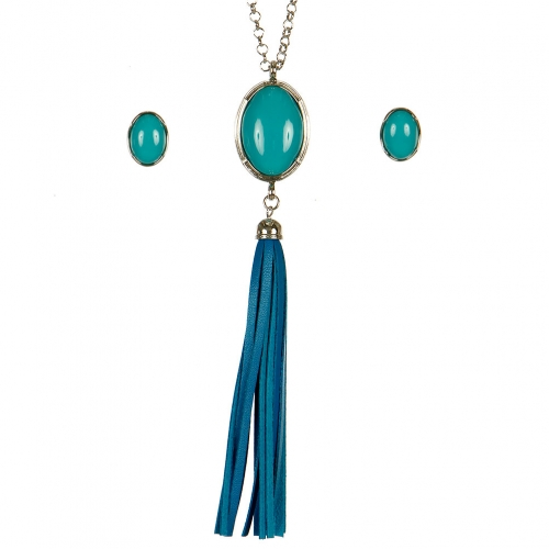 Wholesale M16E Stone Leather Tassel Necklace Set RTQ