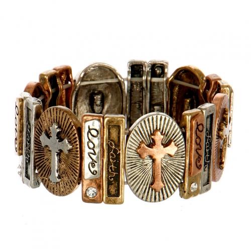 Wholesale L25C Love Faith Etched Stretch Bracelet MTB