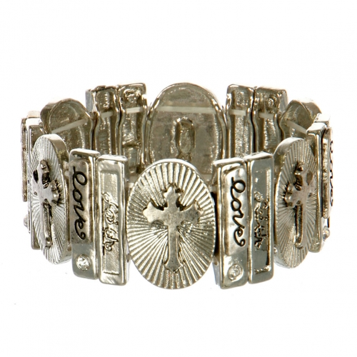 Wholesale L25C Love Faith Etched Stretch Bracelet RHSB