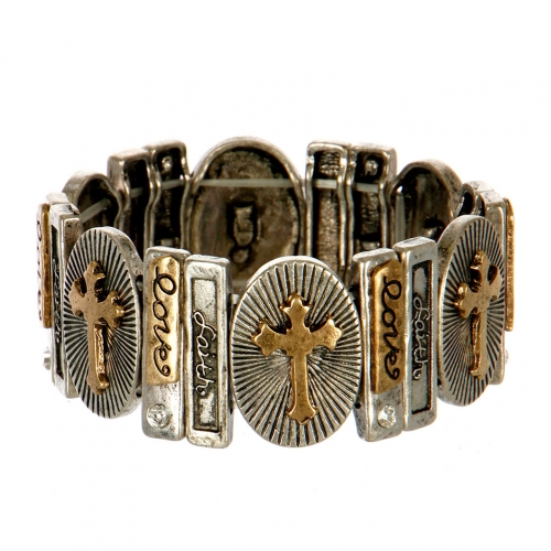 Wholesale L25C Love Faith Etched Stretch Bracelet SBRG