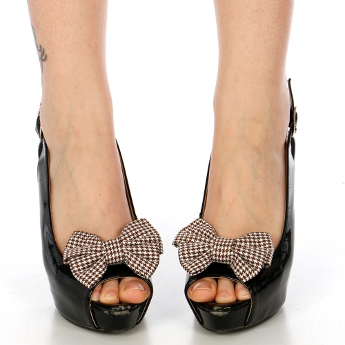 Wholesale M15A Hound Tooth Pattern Ribbon Shoe Clips WH/BK