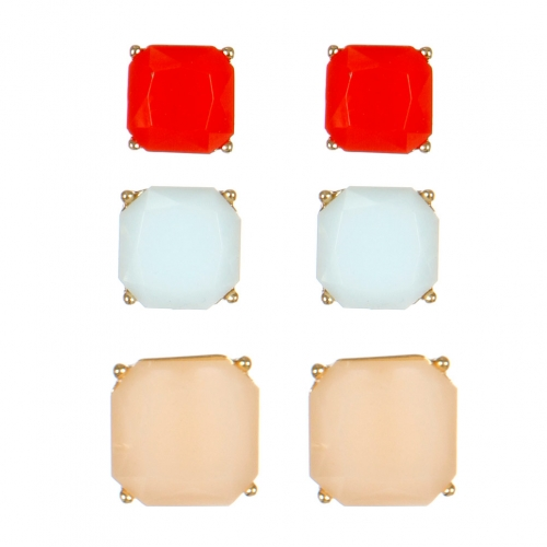 Wholesale M15D Square Faux Stone Studs Set GRDLBL