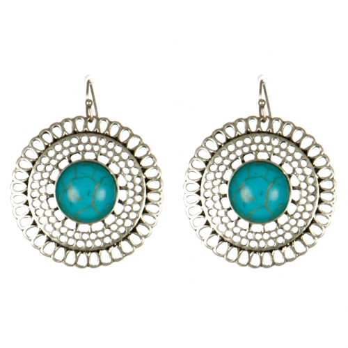 Wholesale M15B Faux Stone Cut Out Round Earrings BSTQ