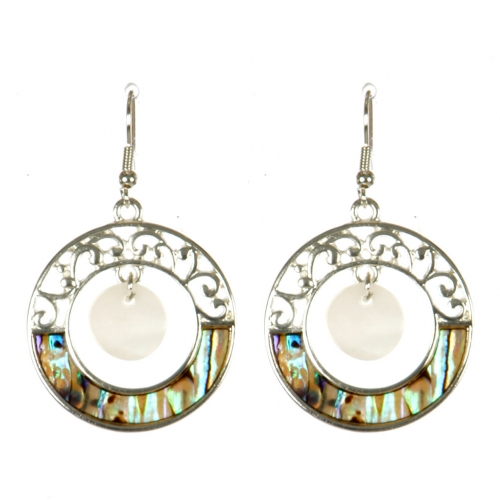 Wholesale M13B Round Dangle Abalone Earrings SV