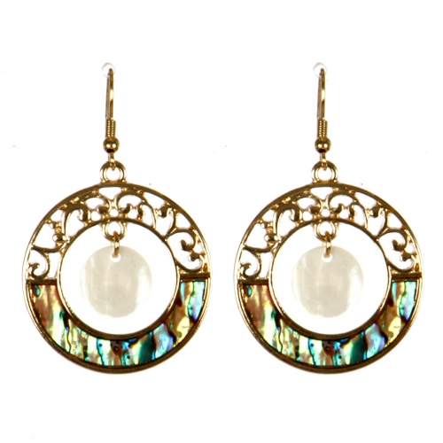 Wholesale M13B Round Dangle Abalone Earrings GD
