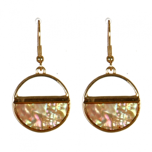 Wholesale M13C Half Abalone Round Earrings GD
