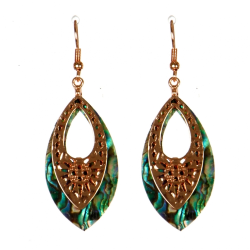 Wholesale M13B Sun Engraved Abalone Earrings RG