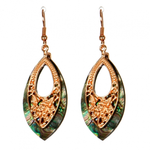 Wholesale M13B Flower Engraved Abalone Earrings RG