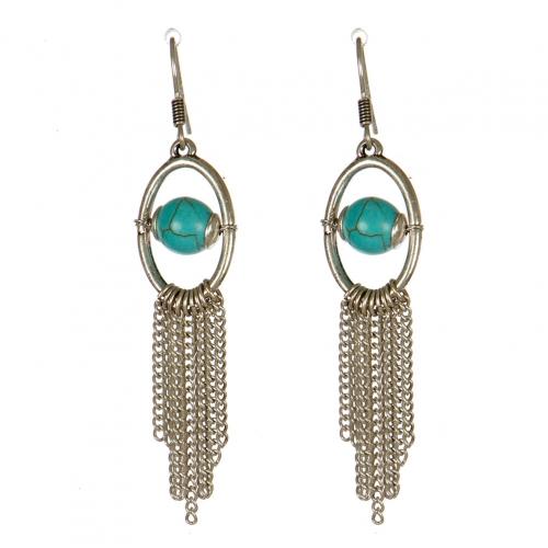 Wholesale M13D Faux Stone Tassel Earrings SB