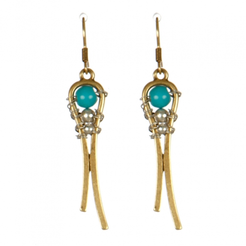 Wholesale M13E Beaded On Drop Earrings GB