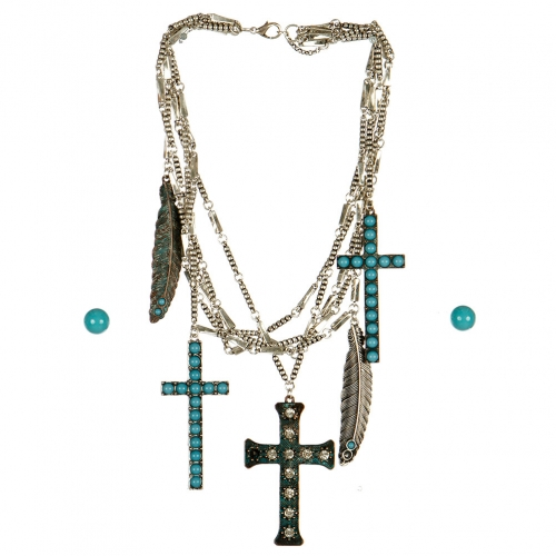Wholesale M17B Cross and Feather Charm Layered Necklace Set BCPTQ
