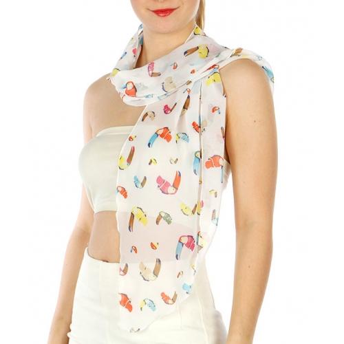 Wholesale H17D Parrot Bird Pattern Petite Scarf BL