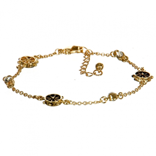 Wholesale L31A Boat Helm Theme Lobster Bracelet with Rhinestones AGC