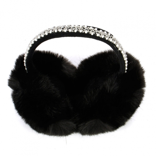 Wholesale  Fur Earmuff With Beads and Pearls BK