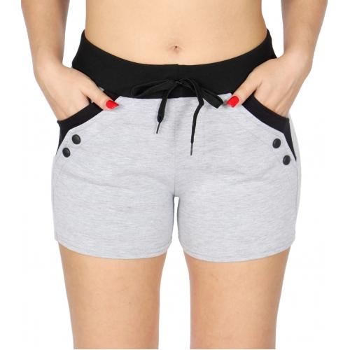 Wholesale B15 Button Accent Fleece Shorts w/ Pockets Black
