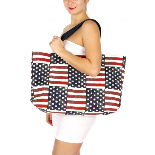 Wholesale H38A Stars and Stripes Americana Canvas Tote Bag FL