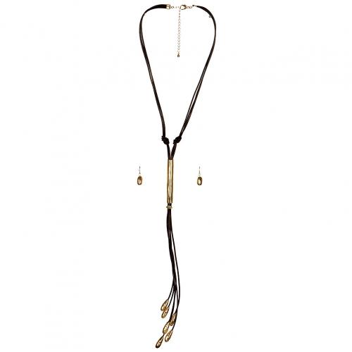 Wholesale L33D Faux Leather Metal Point Tassel Necklace Set GBR