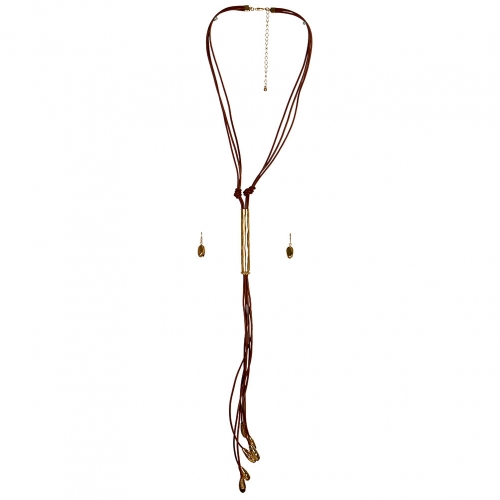 Wholesale L33D Faux Leather Metal Point Tassel Necklace Set GTAN