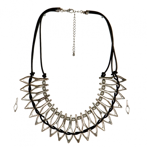 Wholesale L33E Metal and Leather Goddess Statement Necklace Set SBBK