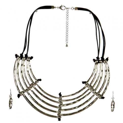 Wholesale L33E Layered Metal Bib Necklace Set R