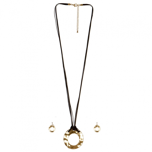 Wholesale M17C Hammered Ring Faux Leather Necklace Set VGBR