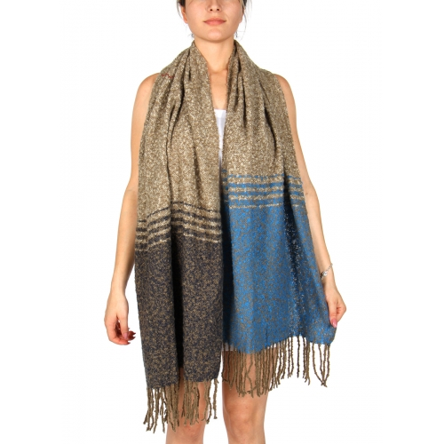 Wholesale P33A Two Tone Boude Shawl w/ Fringes GRPN