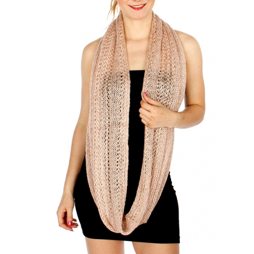 Wholesale P35E Two Tone Knit Infinity Scarf BKGL
