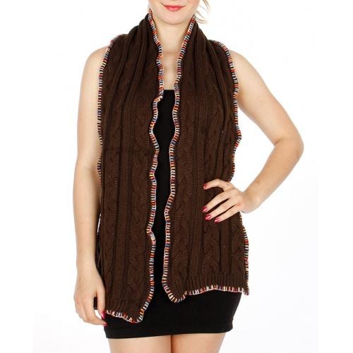 Wholesale T15D Multi Color Stitch Knit Muffler w/ Ribbon BK