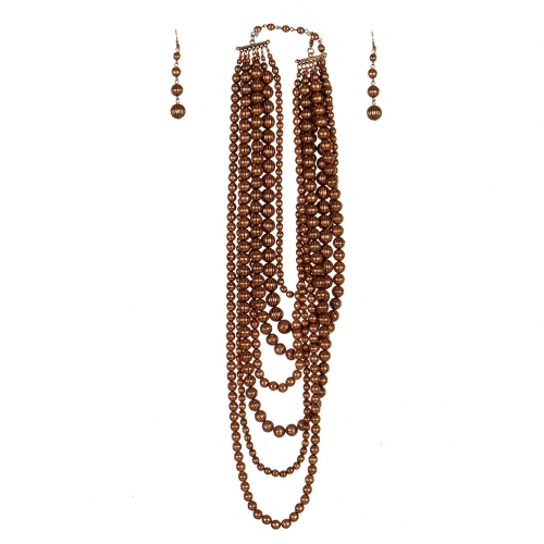 Wholesale L07D Multi Layer Chunky Beads Necklace Set COP