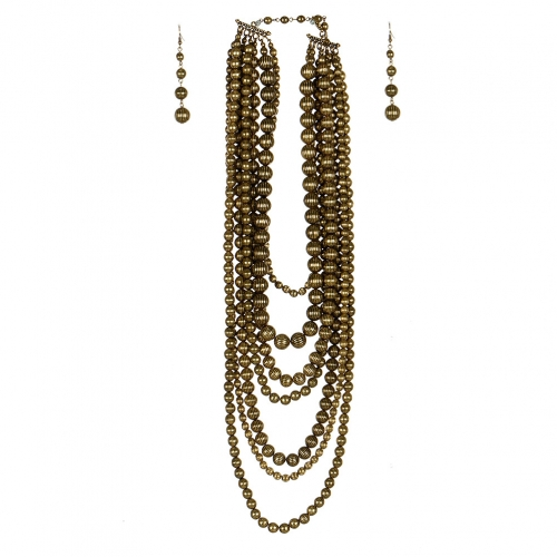 Wholesale L07D Multi Layer Chunky Beads Necklace Set GB