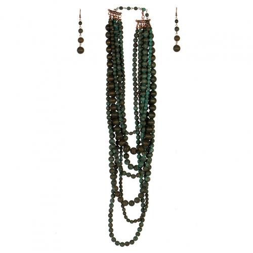 Wholesale L07D Multi Layer Chunky Beads Necklace Set OG