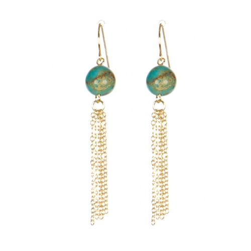 Wholesale M17D Faux Stone Tassel Earring GD