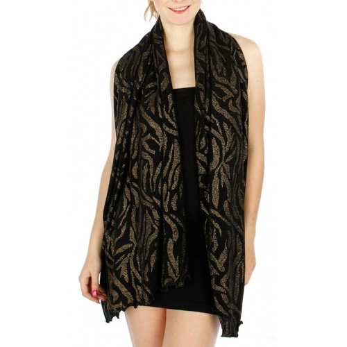 Wholesale S78A Metallic Animal Print Lettuce Edge Shawl BK