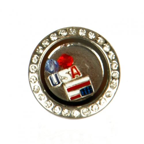 wholesale N30B Glass Locket w/Rhinestone Ring - U.S. Flag RHMT