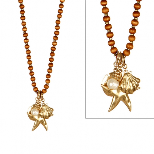 wholesale N30A Sealife Theme Wood Bead 30'' Necklace Set WGN