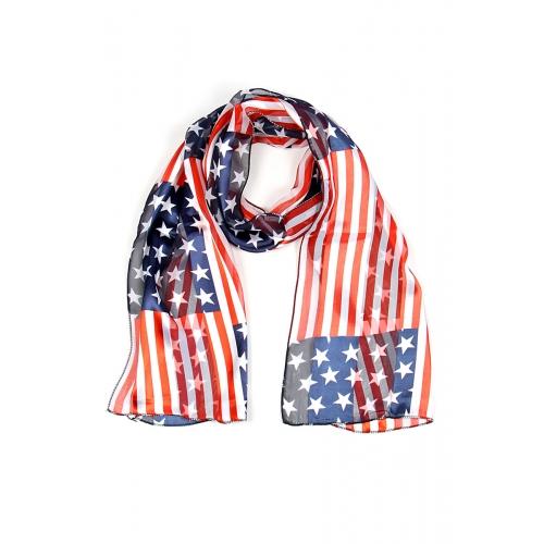 Wholesale P00A Satin Stripe American Flag Print scarf