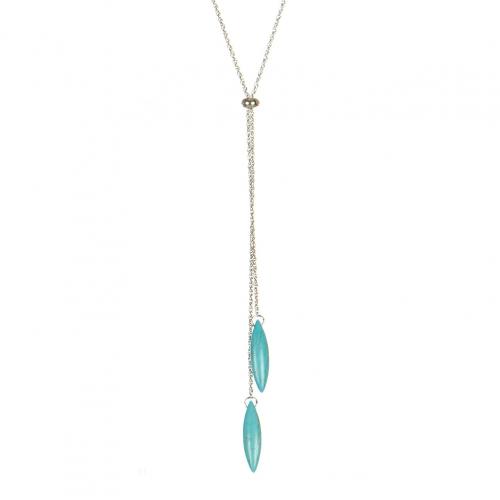 Wholesale M08C Faux Stone Dangle Lariat Necklace SV