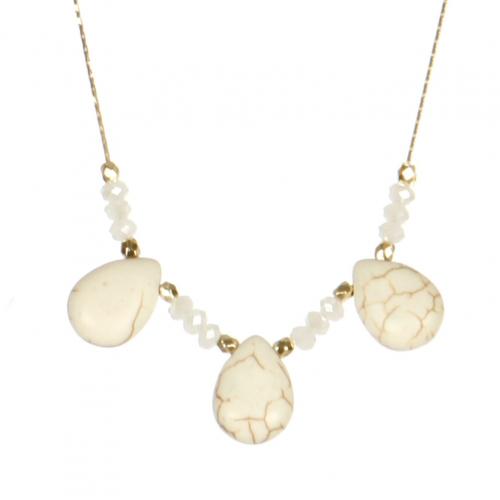 Wholesale M06A Faux Stone Tear Drop Necklace IV