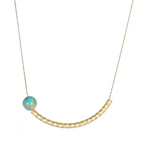 Wholesale M05A Curved Bar Faux Stone Necklace GD