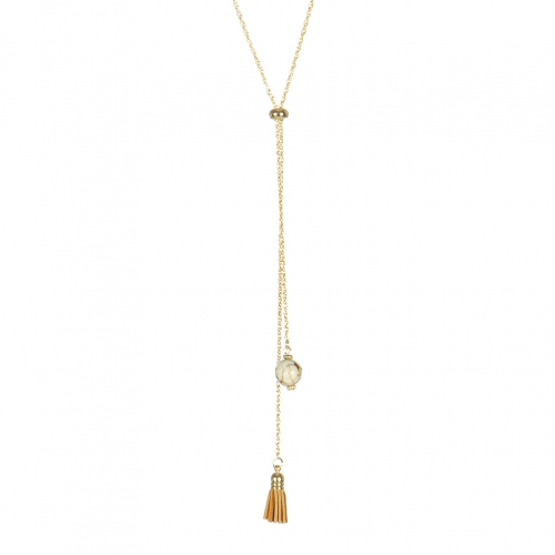 Wholesale M05B Faux Stone and Tassel Lariat Necklace IV