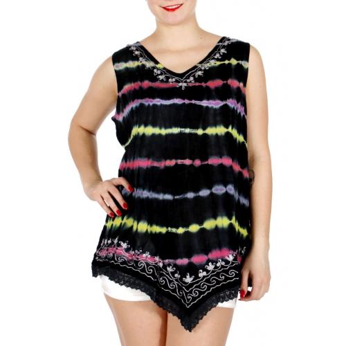 Wholesale I10B Tie Dye Sleeveless Tunic Top BK