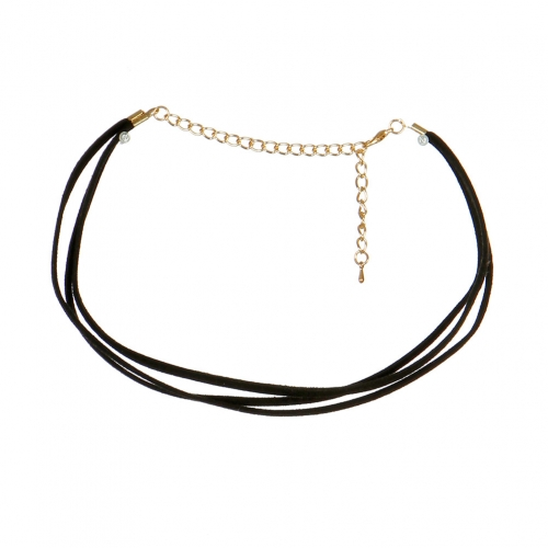 Wholesale N40C Three Layered Suede Choker Necklace GDBLK