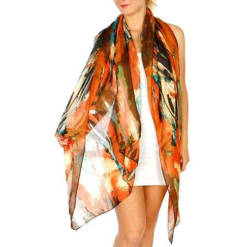 Wholesale O71B Abstract Color Print Scarf CM/MT