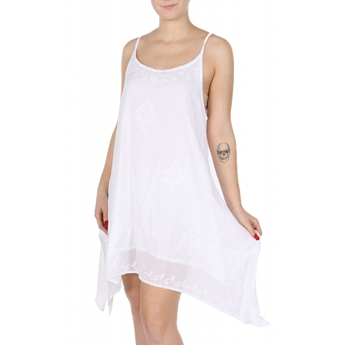 Wholesale I49C White Cotton Embroidery Dress WT