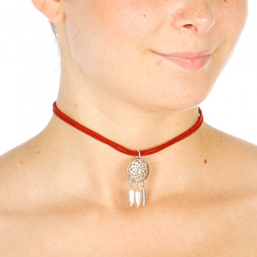 Wholesale N36A Dangling Feathers Choker SILVER/BURGENDY
