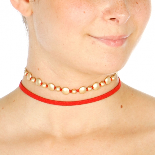 Wholesale N42A Stone Choker Necklace GOLD/RED