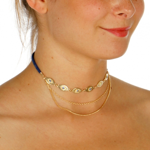 Wholesale N42A Sun Etched Choker Necklace GOLD/BLUE