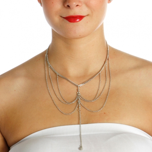 Wholesale N42B Chain Layered Necklace RHODIUM