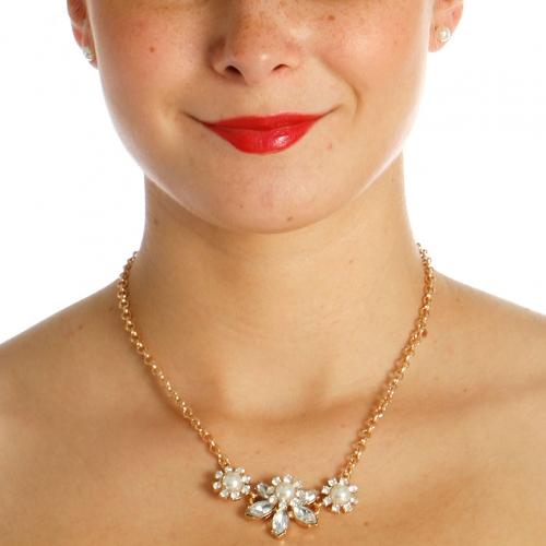 Wholesale N42B Flower Rhinestone Necklace GOLD/CLEAR