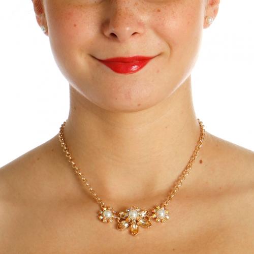 Wholesale N42B Flower Rhinestone Necklace GOLD/LIGHT PEACH